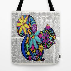 Whimsical Squirrel Dancing on Words Tote Bag by Georgie Pearl Designs - $22.00