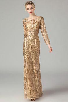 2b2b708380 In Stock Fascinating Sequin Lace Jewel Neckline Sheath Column Evening  Dresses Drop Dead Gorgeous