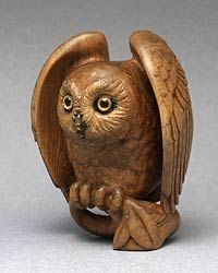Year of the Owl - Wood with amber eyes