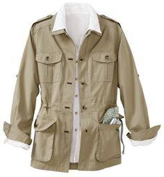 Womens Plus Size Bush Poplin Safari Jacket Khaki 3X 70166 KHA 3X