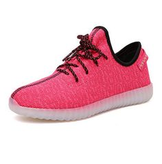 Breath Children Baby Kids Mesh Yeezy Shoes Light Up 7 Colors Boys Trainers Led Lace-Up Running Shoes Lace-Up Glowing Sneakers