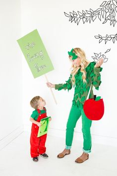 The Giving Tree Halloween costumes for parent and child along with a coordinating trick-or-treat bag