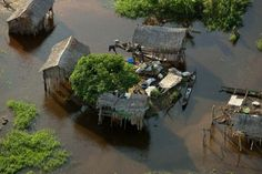 Village on the Congo River near Bounda, Republic of Congo.