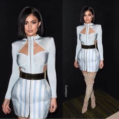 Kylie Jenner Steps Out In Lovely Balmain Dress For Met Gala After Party: Long Sleeve Bandage Dress, Long Sleeve Tunic Dress, Dress Long, Kendall Jenner, Cheap Dresses, Cute Dresses, Short Dresses, Formal Dresses, Balmain Dress