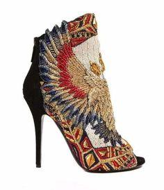 Anlij embroidery shoe Heel boots