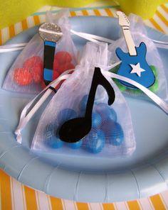 Boys Rock Star party Favor bags 10 pieces. $15.50, via Etsy.