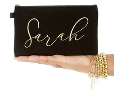 Personalized & Mantra Inspirational by ExpressionsBracelets Personalized Makeup Bags, Personalized Gifts For Mom, Black Makeup Bag, Makeup Pouch, Gifts For Wedding Party, Party Gifts, Wedding Ideas, Custom Bags, Initial Necklace