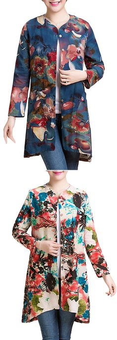 US$ 18.09 O-NEWE Vintage Women Loose Printing Long Sleeve Blouse