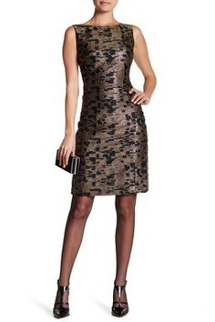 Carol Woven Metallic Sheath Dress