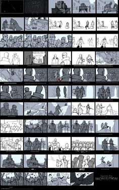 mattrhodesart:  DA:I – Storyboard for the Coronation We had the opportunity to work with the cinematics team for several months working on storyboards. We worked fast and dirty, and rarely did less than five versions of a scene.