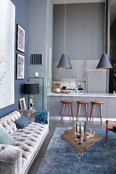 schöne blaue küche ausstatten - bilder an der wand