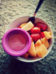 Undressed Skeleton — Morning snack :) apples, cantaloupe & strawberries dipped in jello mix