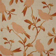 This is apeach coraland natural floral bird design cotton drapery fabric,suitable for any decor in the home or office. Perfect for drapes and pillows.v131TEF