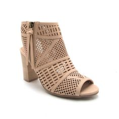 LUCITE-114AX Nude Cut Out Peep Toe Bootie