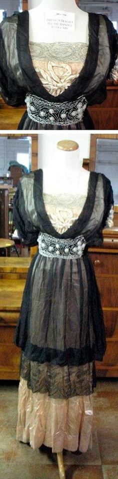 Silk and Chantilly lace dress, ca. 1912. Beaded bodice. McLaren Auction Services/LiveAuctioneers