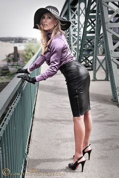 Black Leather Pencil Skirt Purple Satin Blouse Sheer Stockings With Visible Garter Bumps and Black High Heels