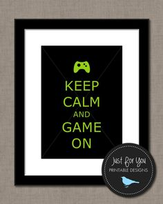 Video Gaming Keep Calm and Game On - Keep Calm and Carry On - YOU PRINT (Digital File) 8x10 Typography Wall Art Poster Sign on Etsy, $4.00