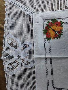 orilla tejidas a crochet para servilletas paso a paso Embroidery Patterns, Cross Stitch Patterns, Crochet Patterns, Crochet Ideas, Crochet Tablecloth, Filet Crochet, Projects To Try, Butterfly, Napkins