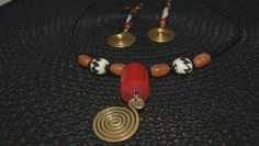 Brass swirl Earrings & Necklace  long dangle  by afroplatterhub