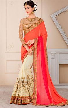 Glamorous Orange and Beige Designer Saree