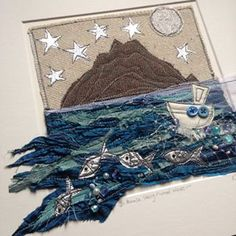 Think I'll be making another Skellig Michael piece really soon! Freehand Machine Embroidery, Free Motion Embroidery, Machine Embroidery Applique, Applique Quilts, Embroidery Art, Textile Fiber Art, Textile Artists, Fibre Art, Fabric Cards