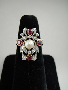 Art Nouveau Diamond, Ruby and Pearl Ring