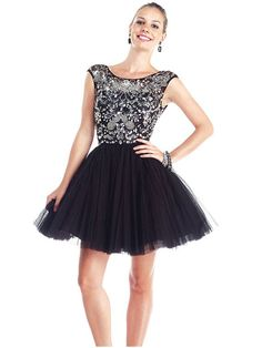 A-line Bateau Short Sleeve Tulle Homecoming Dress With Beaded #FP200