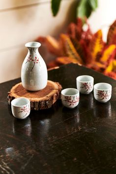 Cherry Blossom Sake set comes with a sake pot and 4 sake cups for Japanese rice wine. Features cherry blossom design on sake pot and sake cups. Japanese Rice Wine, Japanese Sake, Japanese Sweets, Oriental Decor, Pottery Designs, Pottery Ideas, Wine And Liquor, Slab Pottery, Wine Making