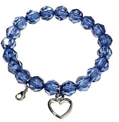 """Stretch Bracelet Crystal Royal Blue Beads Sugar & Vine. $6.00. Bracelet Diameter """" 6.5"""". Stretch Bracelets with Purple and White Freshwater Pearls. Includes a rhodium silver-plated hanging heart and a clasp for additional Sugar and Vine round pendants. Save 25% Off!"""