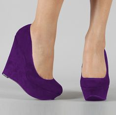 I just bought these! @Gracie Garcia, they are on sale, get you some! #teampurplepumps LOL!   CHIQ | Purple Wedge Platform Pump - Drop Sale!