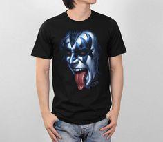Gene Simmons The Demon Face KISS Hard Rock Band Retro VTG Style Men T-Shirt S-2XL Print T Shirts Man Short Sleeve T Shirt #Affiliate