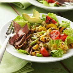 Grilled Marinated Flank Steak Salad. Nutrition Facts Per Serving:  Servings PerRecipe: 2 PER SERVING: 357 cal., 15 g total fat (4 g sat. fat), 47 mg chol., 376 mg sodium, 31 g carb. (5 g fiber, 13 g sugars), 29 g pro.  Diabetic Exchanges  Starch (d.e): 0.5; Fat (d.e): 2; Vegetables (d.e): 2; Other Carb (d.e): 1; Lean Meat (d.e): 3.5