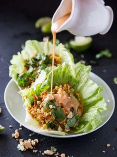 Cauliflower Rice Veggie Lettuce Cups with Sriracha Peanut Sauce // @veggiebeastblog veggieandthebeastfeast.com