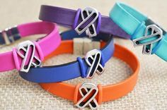 Leather Ribbon Awareness Bracelet
