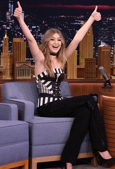 Hot! or Hmm…: Gigi Hadid's Jimmy Fallon Show Rubin Singer Spring 2016 Black and White Striped Corset Strapless Top