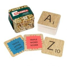 Scrabble tile coasters! Want!