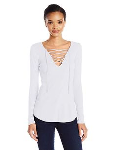 Juniors  Pink Republic Lace-Up Cold Shoulder Sweater  c9bb0c548