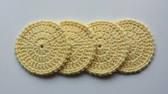 Crochet Coasters - Set of 4 - Soft Yellow by LuckyfootDesigns on Etsy https://www.etsy.com/listing/180976010/crochet-coasters-set-of-4-soft-yellow