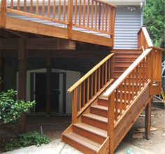 Deck Stair Railing | The stairway for this second story deck was custom built to work with ...