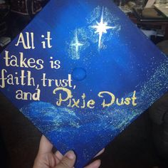 Creative Disney Graduation Cap Ideas You Can DIY Every amazing new beginning comes from the end of something else, so sign off from your former school with a graduation cap that everyone will remember. Disney Graduation Cap, Funny Graduation Caps, Graduation Cap Designs, Graduation Cap Decoration, Nursing Graduation, Graduation Diy, High School Graduation, Graduation Pictures, Graduation Quotes