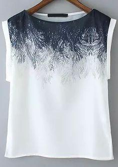 Camiseta Floral manga corta-blanco-Spanish SheIn(Sheinside)