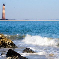 Morris Island Lighthouse at Folly Beach.many memories.many fun times Vacation Trips, Dream Vacations, Vacation Spots, Morris Island, Costa, Folly Beach, Voyage Europe, Down South, Wonderful Places