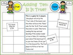 FREE board game for 1.NBT.C.5, mentally adding ten to a two-digit number.