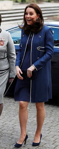 WKW♥: LONDON 27 February - The Royal College of Obstetricians & Gynaecologists & Launch of Nursing Now Campaign - Jenny Packham bespoke Blue Collarless Military Coat♥ Jenny Packham Blue Maternity Dress♥ Jimmy Choo 'Georgia' Navy Suede Pumps ($625)♥ Stuart Weitzman 'Muse' Clutch in Navy Suede ($370)♥ G Collins & Sons Tanzanite & Diamond Pendant Earrings♥ G Collins & Sons Tanzanite & Diamond Pendant Necklace ($12,475)