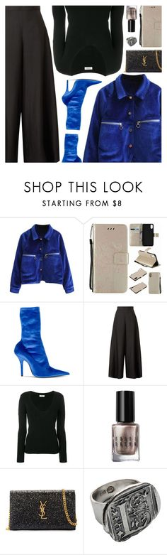 """""""A Black and Blue Look FT. Rosegal"""" by amberelb ❤ liked on Polyvore featuring Balenciaga, The Row, Totême, Bobbi Brown Cosmetics, Yves Saint Laurent and Waxing Poetic"""