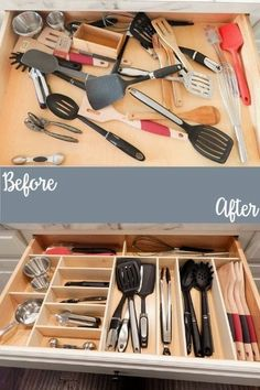 Easy tutorial for creating your own custom wooden drawer organizers. These are great for kitchen organizing and so much more. #kitchendiy #kitchenorganization