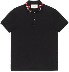 Cotton polo with snake embroidery