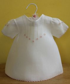 3-D Flowery Day Gown for Baby Girl | 3-6 months | White with 3-D flowers | Handmade Baby Shower gift | Easter gift on Etsy, $60.00