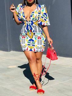 White Geometric Pattern Deep V-neck Half Sleeve Vintage African Bodycon Clubwear Mini Dress African Print Dresses, African Print Fashion, African Wear, African Attire, African Fashion Dresses, African Women, African Dress, Fashion Outfits, African Prints