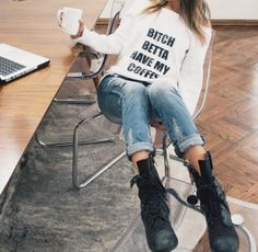 sweater rihanna white sweatshirt graphic sweater coffee coffeee mug denim shorts urban black letter print sweater funny dope winter outfits shirt pants ripped jeans Casual Skirt Outfits, Jean Outfits, Trendy Outfits, Ripped Jeans, Mom Jeans, Boyfriend Jeans, Denim Shorts, Girl Fashion, Fashion Outfits